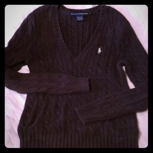 Polo V neck sweater Brown with white polo